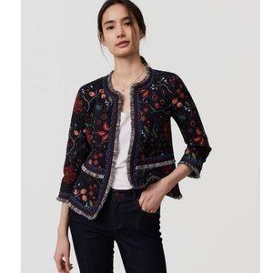 {Loft Outlet} Floral Jacket with Fringe